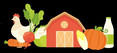 Illustration produits de la ferme